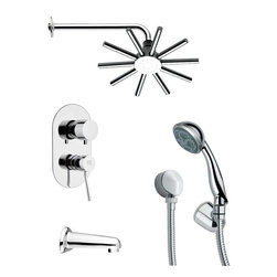 Remer - Sleek Round Modern Shower System - Single function tub and shower faucet.