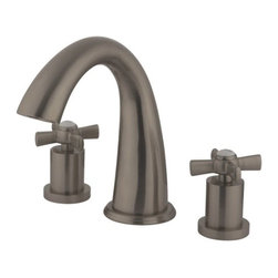 """Kingston Brass - Kingston Brass Millennium Satin Nickel Roman Tub Filler KS2368ZX - This Roman Tub faucet with its cylindrical base and  """"J"""" spout  will work well with most contemporary or transitional d_cors, manufactured from solid brass this faucet features ceramic cartridge for long lasting performance.. Manufacturer: Kingston Brass. Model: KS2368ZX. UPC: 663370284526. Product Name: Kingston Brass Millennium Roman Tub Filler, Satin Nickel. Collection / Series: Millennium. Finish: Satin Nickel. Theme: Modern. Material: Brass. Type: Bathroom Faucet. Features: Max 8.06GPM/30.5LPM At 60PSI"""