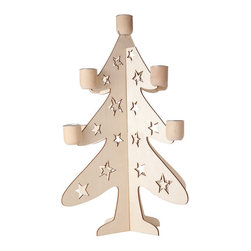Christmas Tree Candle Holder - You've decked the halls and trimmed the tree—now bring some flickering warmth to the festivities. This candleholder adds a charming touch to the holiday table with a cutout design in the shape of a tree.