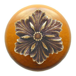 """Inviting Home - Opulent Flower Maple Wood Knob (antique brass) - Opulent Flower Maple Wood Knob with hand-cast antique brass insert; 1-1/2"""" diameter Product Specification: Made in the USA. Fine-art foundry hand-pours and hand finished hardware knobs and pulls using Old World methods. Lifetime guaranteed against flaws in craftsmanship. Exceptional clarity of details and depth of relief. All knobs and pulls are hand cast from solid fine pewter or solid bronze. The term antique refers to special methods of treating metal so there is contrast between relief and recessed areas. Knobs and Pulls are lacquered to protect the finish. Alternate finishes are available. Detailed Description: The Opulent Scroll pulls add an amazing focus to any drawers or cabinets - it will make them look regal and majestic. The absolute perfect place for these pulls to be used is in the dining room on your china closet. They are great pulls to use if you are trying to punch up an antique piece of furniture or cabinet. You should consider using the Opulent Scroll pulls in combination with the Opulent Flower knobs or wood knobs with flower."""