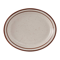 Tuxton - 7 1/8 x 5 3/4 Oval Platter Narrow Rim in White with Brown Speckles - Case of 36 - The ideal dinnerware collection for a fastpaced environment with exceptional durability and value. The deep brown speckle band and line add a touch of color and distinctive quality to the table.