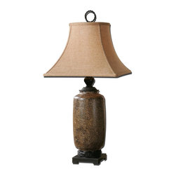 Uttermost - Uttermost Gravina Antique Chocolate Lamp 26854 - Textured ceramic base finished in a distressed chocolate glaze with black metal details. The round top, square bottom, bell shade is a rusty beige linen fabric.