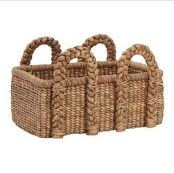 Beachcomber Seagrass Basket, Rectangular, Low - Our Beachcomber basket is handwoven from sustainable natural fibers and is ideal for keeping extra pillows, blankets and other everyday necessities neatly stowed. Sturdy handles allow for lightweight, easy toting. Hand woven of chunky, natural seagrass. Watch a video about {{link path='/stylehouse/videos/videos/ba_v5.html?cm_sp=Video_PIP-_-DECORATING-_-BEACHCOMBER_BASKET' class='popup' width='420' height='300'}}decorating with baskets{{/link}}. See this item featured in {{link path='pages/popups/asi_ch_211.html' class='popup' width='720' height='800'}}Canadian House & Home{{/link}}.