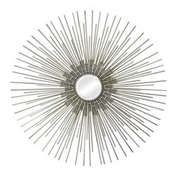 None - Silver and Gold Circular Mirror - This contemporary mirror features a round shape and a silver finish with a gold hue. This mirror offers a sophisticated,clean look that makes this it a natural fit in many decors.