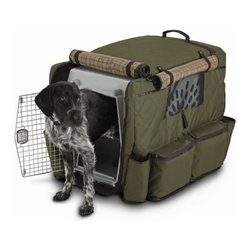 "Classic Accessories - Heritage Dog Crate Cover in Loden and Plaid - Features: -Dog crate cover. -Heritage collection. -Rugged, insulated cover keeps your dog warm and dry during travel or in the field. -Multiple storage pockets and water bottle pockets for long distance travel. -Large easy pour kibble bag. -Magnetic side window flaps open for cross ventilation on warm days. -Two grab handles. -Elasticized bottom hem for a fast and snug fit. Specifications: -Medium: 25.75"" H x 23.5"" W x 34.5"" L. -Large: 29"" H x 26"" W x 38.25"" L. -X-Large: 29"" H x 28.5"" W x 42"" L."