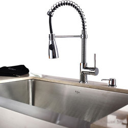 Kraus - Kraus Single Lever Pull Out Kitchen Faucet Chrome - *Update the look of your kitchen with this multi-functional Kraus pull-down faucet