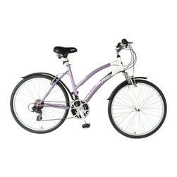 Polaris - Women's 21-Speed Sportsman Comfort Bike - The Sportsman Comfort Women's Bike features a steel comfort frame designed to give you a more upright riding position. With features such as a cushioned saddle and front suspension travel fork, this mountain bike softens the bumps to offer the most comfortable ride. This sturdy mountain bike is also available in a men's version. Features: -Sportsman comfort bike.-21 Speeds.-Steel comfort frame, 19''.-Non-adjustable front suspension, 30 mm travel fork.-Alloy wheels, 26'' x 1.5''.-Kenda Kwick all-terrain tires, 26'' x 1.5''.-Shimano ''revo'' twist shifters.-Shimano TZ31 front derailleur.-Shimano ''tourney'' rear derailleur.-Alloy / steel crank.-MTB type pedals.-Spring cushioned saddle.-Steel seat post, 25.4 mm x 350 mm.-Steel MTB handlebars, 50 mm rise.-Steel stem.-Steel threaded headset, 1''.-Rear linear pull brake.-Front suspension.-Front and rear mudguards.-3 Pice crank.-Quick release seat.-Quick release front wheel.-Recommended for ages 12+.-Distressed: No.