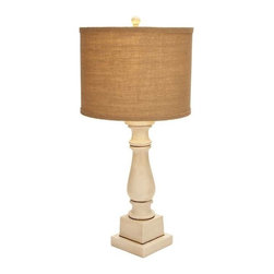 """Benzara - Contemporary Table Lamp with Mix of White and Beige Color - Contemporary Table Lamp with Mix of White and Beige Color. Looking for a simple lighting solution for your bedroom? If yes then this table lamp is an apt addition to your personal space. It comes with following dimensions 7"""" W x 7"""" D x 29"""" H."""