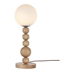ParrotUncle - Wooden Ball Stringed Glass Shade Table Lamp - Wooden Ball Stringed Glass Shade Table Lamp
