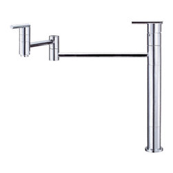 "Danze - Danze D206558 Chrome Deck Mount Pot Filler - Danze D206558 Single Handle Deck Mount Pot Filler is part of the Parma collection.  D206558 Single hole deck mount Pot Filler, has a 2-piece articulated spout that fold out of the way when not in use.  Spout height is 10"" above counter with a reach that extends up to 21"".  D206558 Pot Filler is designed for cold water hook up, and includes a 3"" faucet riser tube.  D206558 Pot Filler meets all requirements of ADA, California and Vermont compliant."