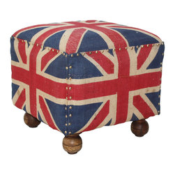 Habitat Home & Garden - Gunny Footstool, Union Jack - The Gunny Footstool features a hand-crafted mango frame and turned feet with eco-friendly, hand-painted burlap upholstery. Available in blue buck or Union Jack , these are great for extra seating or a footstool.