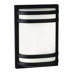 """Philips Forecast Lighting - Westport Outdoor Wall Fixture in Black - Engery Smart - The Westport Collection's outdoor wall fixtures looks as if a traditional exterior light was taken and mixed with contemporary features. This wall light comes in a black finish; giving this outdoor fixture the capability of looking great on any type of house. The design of the bands curving around the acrylic diffuser gives the piece its overall modern flair. Features: -This item is an energy efficient product -Two light outdoor wall fixture -Westport Collection -Black finish -Acrylic diffuser -Available in small and large sizes -Small fixture uses two 18W twin tube compact fluorescent (4 pin 2G11 base) bulbs - not included -Large fixture uses two 36 or 39W twin tube compact fluorescent (4 pin 2G11 base) bulbs - not included -120V electronic ballast (standard) -Wet location listed -Energy Smart fixture -Small fixture is ADA compliant -Overall dimensions, small: 14.5""""H x 10""""W x 4""""D -Overall dimensions, large: 22""""H x 14""""W x 5.5""""D"""