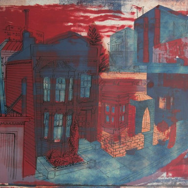 Lost Art Salon - Original 1940-50s Abstracted San Francisco Victorians by Jerry Opper - This late 1940s-Early 1950s stone lithograph on paper abstracted San Francisco scene is by California artist Jerry Opper (b.1924). After graduating from Hollywood High School, he worked in movie studios and attended art classes at Choiunard Art Institute. In 1942 he was drafted into the army and was then able to study at the Colorado Springs Fine Arts Center while his outfit was stationed in Colorado. After he was discharged in 1945 he returned to Chouinard and his work in movie studios until 1947, when he moved to San Francisco. Mr. Opper then enrolled at the California School of Fine Arts. Opper�۪s prints have been included in several major shows throughout the country: Oakland Art Gallery; Sacramento State Fair; San Francisco Museum of Art; International Color Lithography Exhibition at Cincinnati, Ohio; Pennell Print Show at the Library of Congress, Washington D.C.; Brooklyn Museum Print Show; Los Angeles County Fair, Pomona; City of Paris Rotunda Gallery, San Francisco. Unframed, shipped in standard sized archival mat.
