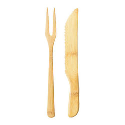 Bamboo Studio - Bamboo Studio Bamboo Carving Fork and Knife Set - Reusable and made from 100% bamboo!