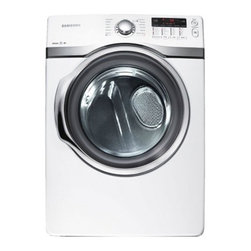 Samsung - DV405GTPAWR 7.4 Cu. Ft. Super Capacity Gas Dryer With Permanent Press Cycle  Del - This Samsung steam gas dryer features an ultra-large 74 cu ft capacity to accommodate large loads and 13 cycles to suit a variety of fabric types Steam refresh and steam wrinkle away cycles reduce wrinkles remove odors and refresh clothing