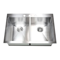 "Ariel - 33 Inch Top-Mount / Drop-In Stainless Steel Double Bowl Kitchen Sink - Crafted from 16-gauge stainless steel, this drop-in sink features a zero radius design and double bowls for food preparation and cleaning. Dimensions 33"" x 22"" x 10"""