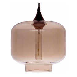Inova Team -Modern Glass Light Pendant - Like a petite jewel hanging from the ceiling, the Candice Light Pendant drips with elegance and modern industrial flair. Tinted in brown, the glass and steel light fixture lights up a room, even when not in use.