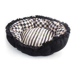 Courtly Check Pet Pouf - Designed with small pets in mind. Incredibly cozy and comfortable, with high sides for kitties or little dogs to snuggle up with. Super-plush and machine washable for easy care.