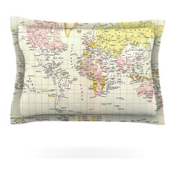 """Kess InHouse - Catherine Holcombe """"Travel"""" World Map Pillow Sham (Cotton, 30"""" x 20"""") - Pairing your already chic duvet cover with playful pillow shams is the perfect way to tie your bedroom together. There are endless possibilities to feed your artistic palette with these imaginative pillow shams. It will looks so elegant you won't want ruin the masterpiece you have created when you go to bed. Not only are these pillow shams nice to look at they are also made from a high quality cotton blend. They are so soft that they will elevate your sleep up to level that is beyond Cloud 9. We always print our goods with the highest quality printing process in order to maintain the integrity of the art that you are adeptly displaying. This means that you won't have to worry about your art fading or your sham loosing it's freshness."""