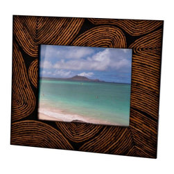 Kouboo - Picture Frame Decorated with Coconut Twig Inlay, 5 x 7 - Handcrafted with an inset made from coconut twigs, this thumbprint picture frame is perfect for that seaside family snapshot. Using beauty from nature, this photo frame reflects your attention to detail and love of the outdoors. This frames also make a thoughtful wedding, anniversary or birthday gifts.