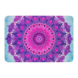 "KESS InHouse - Iris Lehnhardt ""Grunge Mandala"" Purple Blue Memory Foam Bath Mat (24"" x 36"") - These super absorbent bath mats will add comfort and style to your bathroom. These memory foam mats will feel like you are in a spa every time you step out of the shower. Available in two sizes, 17"" x 24"" and 24"" x 36"", with a .5"" thickness and non skid backing, these will fit every style of bathroom. Add comfort like never before in front of your vanity, sink, bathtub, shower or even laundry room. Machine wash cold, gentle cycle, tumble dry low or lay flat to dry. Printed on single side."