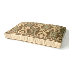 Granada Ikat Dog Bed - A weaving pattern certain to draw an approving woof. The Granada Ikat Dog Bed boasts a warm-hued, twine-colored background embellished with a stylish pattern suggestive of Indonesian tapestry. Fashioned from a highly durable fabric, the dog bed offers welcoming comfort for your four-footed friend and graceful beauty for your abode.