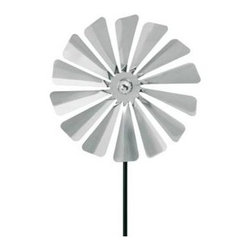 Blomus - Viento Stainless Steel Small Pinwheel - Metal ground stake included. For indoor or outdoor use. Provides a whimsical garden accessories. Made of 18/8 stainless steel. Traditional style. Designed by Susanne Augenstein. Manufacturer's defect warranty. Minimal assembly required. 7.9 in. Dia. x 29.03 in. H