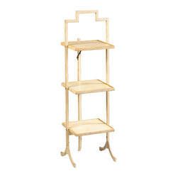 Kathy Kuo Home - Nouvel French Country Ivory Square Folding Display Shelves - Classic French style gets a convenient, modern upgrade in the brilliant folding design of these display shelves. Delicate, ivory  metal offers three square shelves whenever and wherever they're needed. Unique folding design saves space and doubles as a small divider.