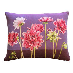 Pillow Decor Ltd. - Pink Dahlias Rectangular Tapestry Throw Pillow - The drama of dahlias, the finery of French tapestry. This unusual, unfussy floral makes a refreshing style statement in your decor.