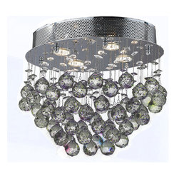 """Worldwide Lighting - Icicle 4 Light Chrome Finish Raindrop Crystal 16"""" Oval Flush Ceiling Light - This stunning 4-light ceiling light only uses the best quality material and workmanship ensuring a beautiful heirloom quality piece. Featuring a radiant chrome finish and finely cut premium grade crystals with a lead content of 30%, this elegant ceiling light will give any room sparkle and glamour. Worldwide Lighting Corporation is a privately owned manufacturer of high quality crystal chandeliers, pendants, surface mounts, sconces and custom decorative lighting products for the residential, hospitality and commercial building markets. Our high quality crystals meet all standards of perfection, possessing lead oxide of 30% that is above industry standards and can be seen in prestigious homes, hotels, restaurants, casinos, and churches across the country. Our mission is to enhance your lighting needs with exceptional quality fixtures at a reasonable price."""