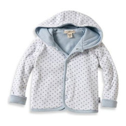 Burt's Bees Baby - Burt's Bees Baby Organic Cotton Dottie Bee Hooded Jacket in Blue - This adorable hooded jacket is reversible with one side blue and one side white. It is also quilted, making it the perfect hoodie for the autumn months.