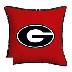 Sports Coverage - Georgia Bulldogs NCAA MVP Micro Suede Toss Pillow - Make that new officially licensed Georgia Bulldogs NCAA Toss Pillow look as good as it feels. A must have for any true fan. A New Design - Same great quality!!  A New Design - Same great quality!! Coordinating 17 inch Toss Pillow is best compliment for your Comforter. Each Pillow is made from MicroSuede fabric. Pillow features appliqued NCAA logo in the center of the pillow and are of matching polyester microsuede, as well as a strip of mesh trim around it. 100% Polyester Microsuede Cover and Polyester Fill. Trimmed in porthole jersey of teams secondary color. Coordinating MVP Toss pillow to match the entire bedding Collection. Pillow features team colors and the team logo in the center of the pillow .