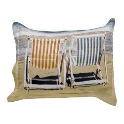 """ARTnBED - Standard Sham """"Chairs on the Beach"""", Option A - Standard Sham with the painting """"Chairs on the Beach"""" by the artist Arie Azene.  Our shams will coordinate with your existing solid color linens for a contemporary and clean look, or you can mix and match them with colors and patterns for a powerful statement. Either way, you'll be adding the tranquility and relaxation of the beach to your bedroom."""