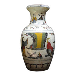 Golden Lotus - Chinese Rough Off White Porcelain Color People Gathering Vase - This Chinese decorative off white base porcelain vase has hand painted color graphic of people gathering scenery on the surface.