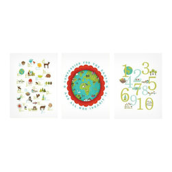 """Rebecca Peragine Inc / Children Inspire Design - Earth Baby Children's Wall Art Prints, Set of 3, 11""""x14"""" - The world is in reach for your little one, and the possibilities are endless. Create a modern and global nursery, while teaching your child about the ABC's, numbers and compassion for our world."""