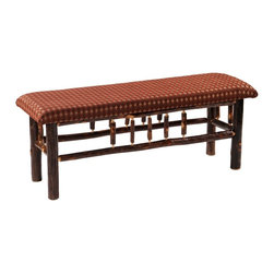 Fireside Lodge Furniture - Hickory 48 in. Upholstered Log Bench (Bradley - Fabric: BradleyHickory Collection. All Hickory Logs are bark on and kiln dried to a specific moisture content. Clear coat catalyzed lacquer finish for extra durability. 2-Year limited warranty. 48 in. W x 17 in. D x 18 in. H (55 lbs.)