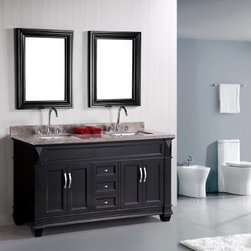 "Design Elements LLC - Hudson 60"" Double Sink Vanity Set in Espresso - The 60"" double-sink Hudson vanity is elegantly constructed of solid hardwood. Theclassic beauty of the Badal Gray marble countertop, combined with the transitional style of the espresso cabinetry, brings a sophisticated look to any bathroom. This vanity features three functional drawers and two double-door cabinets, all adorned with satin nickel hardware."