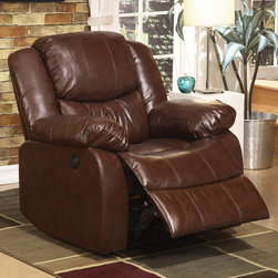 """Acme Furniture - Fullerton Recliner with Power Motion in Brown Bonded Leather - Fullerton Recliner with Power Motion in Brown BLM; Finish: Brown BLM; Materials: Bonded Leather+PU, Foam, Solid Wood, Ply; Weight: 85 lbs; Dimensions: 36""""L x 37""""D x 38""""H"""