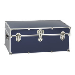 Artisans Domestic Heirloom Steamer Trunk, Navy - Store your own keepsakes or your children's toys safely in this steel-reinforced decorative trunk with wheels for convenience. A removable top storage tray keeps small items separated from larger items in the roomy part of this locking trunk.