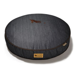 P.L.A.Y. - Round Pet Bed, Medieval Blue With Dark Chocolate Piping - Round pet bed (Medium) Urban Denim from the Original Collection (Medieval Blue/Dark Chocolate); Fashionable denim fabrics with contrast piping; Machine wash separate/dry clean, eco-friendly and durable construction.