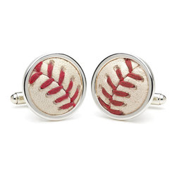 Frontgate - Game Played Baseball Cufflinks - Crafted from an MLB-authenticated game-used baseball. Uniquely numbered MLB hologram on back can be verified online at mlb.com. Arrives in a gift box with authentication instruction card. Discover what game your ball was played in (see instructions below). Officially licensed and authenticated by Major League Baseball, our Game-played Baseball Cufflinks let you wear your love for America's Pastime on your sleeve--literally. Leather and seams from each ball are beautifully set in sterling silver with a pivot finding and hallmarked on the back with the team name and official MLB hologram.. . . . Instructions for obtaining game detail using your authentication number: Go to www.MLB.com/authentication and input the code that appears on your cuff links. A pop-up will appear with the teams that used the ball along with another authentication code. Input this second authentication code and more game information will display, including the date of play.