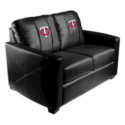 Dreamseat Inc. - Minnesota Twins MLB Alt Logo Xcalibur Leather Loveseat - Check out this incredible Loveseat. It's the ultimate in modern styled home leather furniture, and it's one of the coolest things we've ever seen. This is unbelievably comfortable - once you're in it, you won't want to get up. Features a zip-in-zip-out logo panel embroidered with 70,000 stitches. Converts from a solid color to custom-logo furniture in seconds - perfect for a shared or multi-purpose room. Root for several teams? Simply swap the panels out when the seasons change. This is a true statement piece that is perfect for your Man Cave, Game Room, basement or garage.