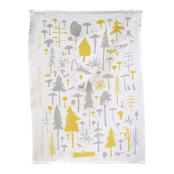 makelike design - Tea Towel - Wilderness - This two-color tea towel is hand-screenprinted using water-based inks on 100% European linen.
