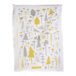 makelike design - Tea Towel - Wilderness - This two-color tea towel is hand-screen-printed using water-based inks on 100% European linen.