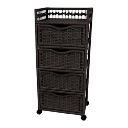 Oriental Unlimited - 4-Drawer Natural Fiber Chest on Wheels (White - Color: WhiteRattan look chest. Simple and sturdy Spruce frames with woven spun plant fiber cord. 4 Ample drawers provide organized storage space. Over-all: 17.25 in. W x 12.5 in. D x 38.25 in. H. Inside drawer: 13.75 in. W x 10.25 in. D x 6.25 in. H. Top shelf: 15.5 in. W x 11.75 in. D x 4 in. H