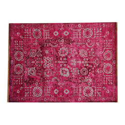 """Transtional Pink Tabriz Oriental Rug 5' x 7' Hand Knotted Wool and Silk SH16839 - The first way one normally finds silk in a rug is as a """"highlight""""  or """"silk touch"""". This will be seen in very high knot count traditional rugs typically. The silk is used in very small amounts throughout the design to highlight, add an extra dimension, and/or pop to the design. The second way silk is incorporated into a wool rug sometimes is when an entire element of a rug or color is done in silk. This is seen in both modern as well as traditional rugs. A design element, for instance a flower or bird, could be entirely carved out in silk within the rug. This design sometimes will also be depressed or raised (have a higher and lower pile) besides being done in silk so it will stand out even more within the rug."""