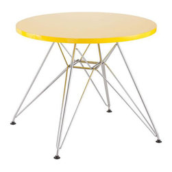 Kids Table in Yellow - Include this children's table in every home today. With a MDF top and a chrome steel base, this table provides every child a place for reading, writing, and creating dreams.