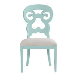 Stanley Furniture - Coastal Living Cottage Wayfarer Side Chair - Sea Mist Finish - Like the old bistro chairs outside the coastal candy shoppe, these cut-back chairs bring an easy smile to any table. Upside down heart motif gives a kiss to your lower back, while the open top section is perfectly sized to fit your palm. Made to order in America.