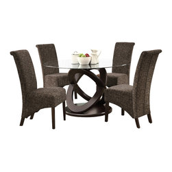 """Monarch Specialties - Monarch Specialties 1749-1788BR 5-Piece Round Dining Room Set in Dark Espresso - Enhance your dining experience with this contemporary 48"""" round dining table with a thick tempered, beveled glass top and a unique Olympic ring designed sturdy table base. Ample leg room with a beautiful look for any kitchen or dining room."""