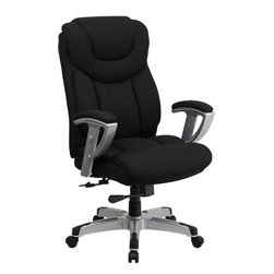 Flash Furniture - Flash Furniture Hercules Series 400 lb. Capacity Big & Tall Office Chair - Get the comfort needed to perform all any task in this stylish and plush padded Big and Tall Office Chair by Flash Furniture. This executive chair comfortably fits users up to 400 lbs. Chair features height and width adjustable arms, built-in lumbar support and a spring tilt mechanism.